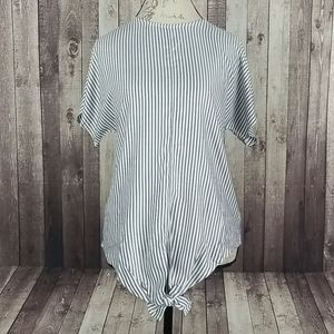 Madewell Button-Back Tie Tee in Classon Stripe